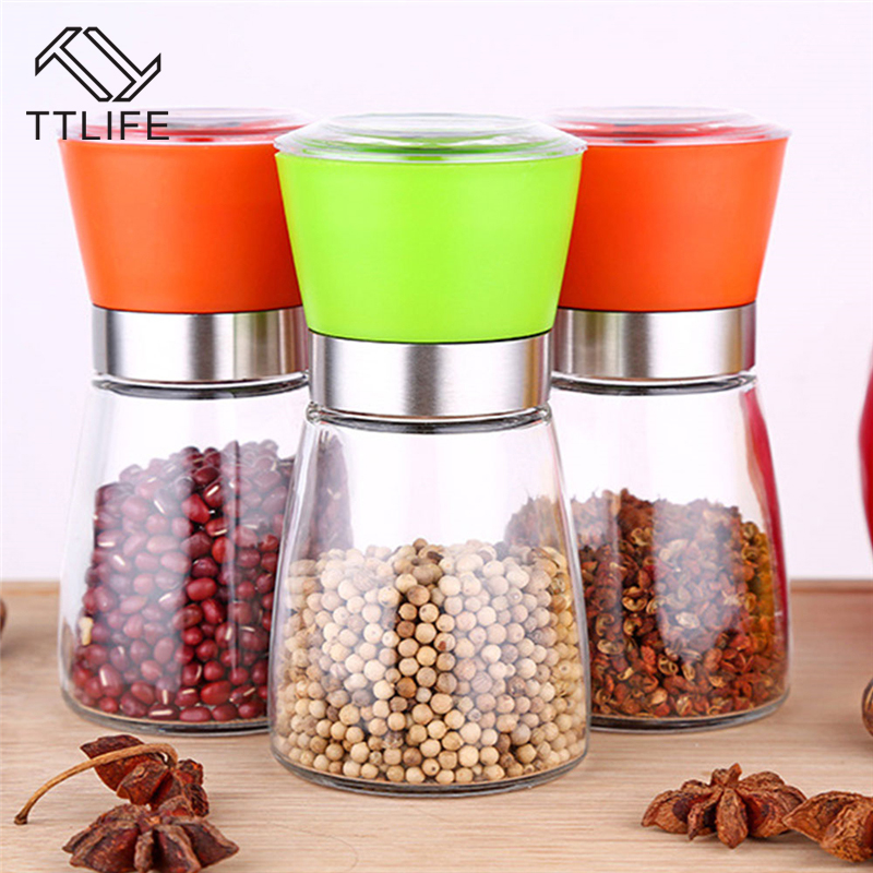 Ttlife stainless steel glass pepper mill slim fit spice