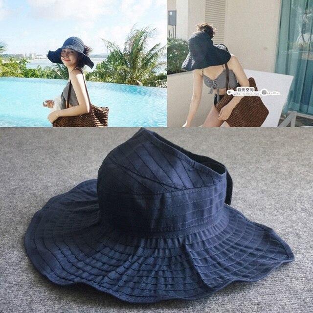 bf2046de14b 2016 Women Sun Hat Visor Folding Summer Hat Caps Cotton Uv Empty Semicircle  Onoki Sun Hat