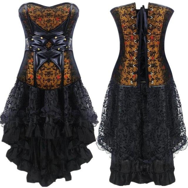 STEAMPUNK espartilho Renascimento Vestido Retro Gótico roupas Bib + rendas saia Burlesque Bodyshaper bustier do vintage