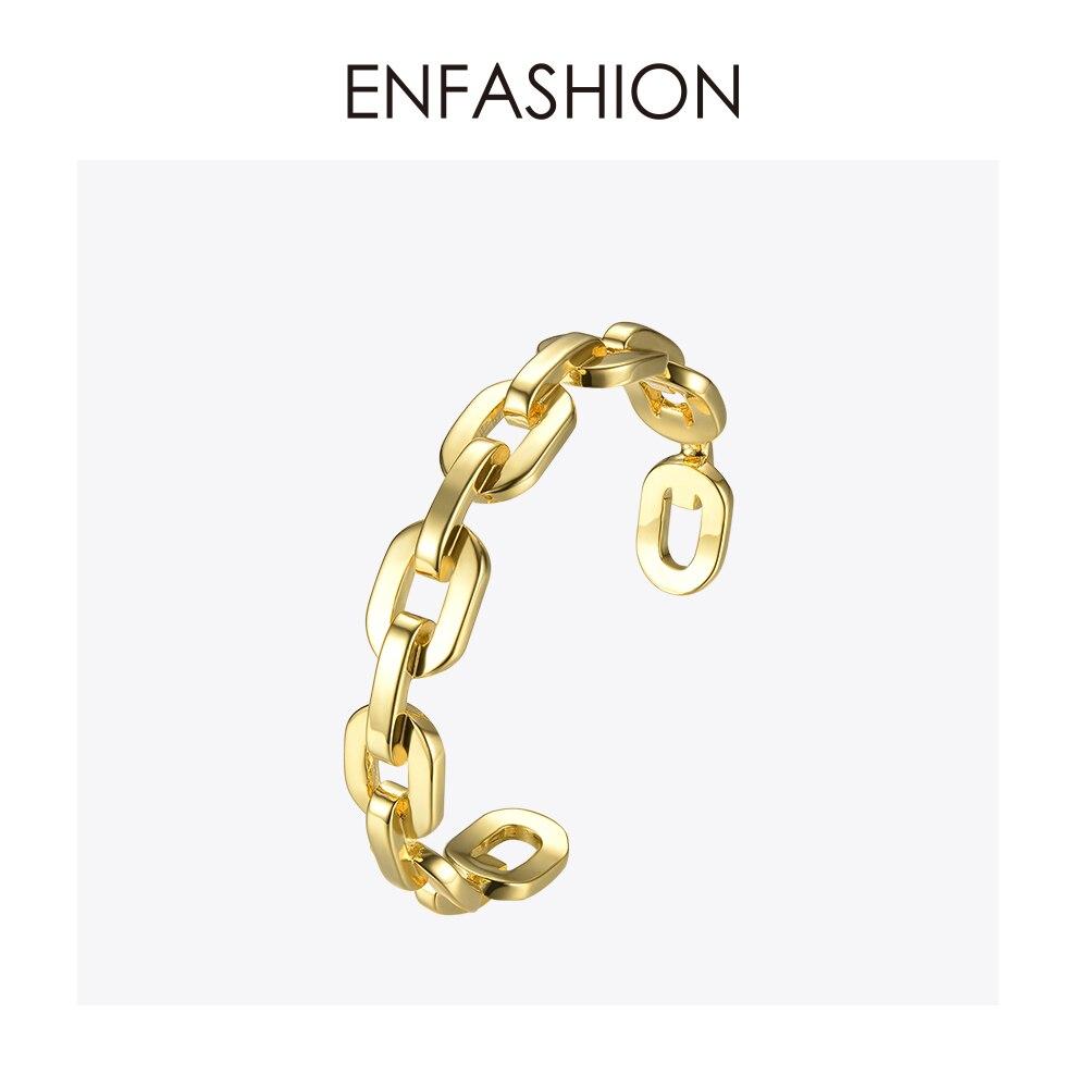 Enfashion Forma Pura Médio Chain link Cuff Pulseiras & Pulseiras Para Mulheres Jóias Da Moda da Cor do Ouro Jóias Pulseiras BF182033