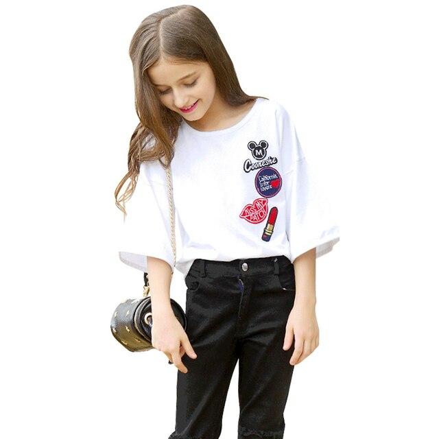 Подростков комплекты одежды для девочек 9 10 11 12 16 5 лет из хлопка с короткими рукавами футболка + джинсы 2 шт. Повседневные костюмы для девочек с круглым вырезом для девочек лето