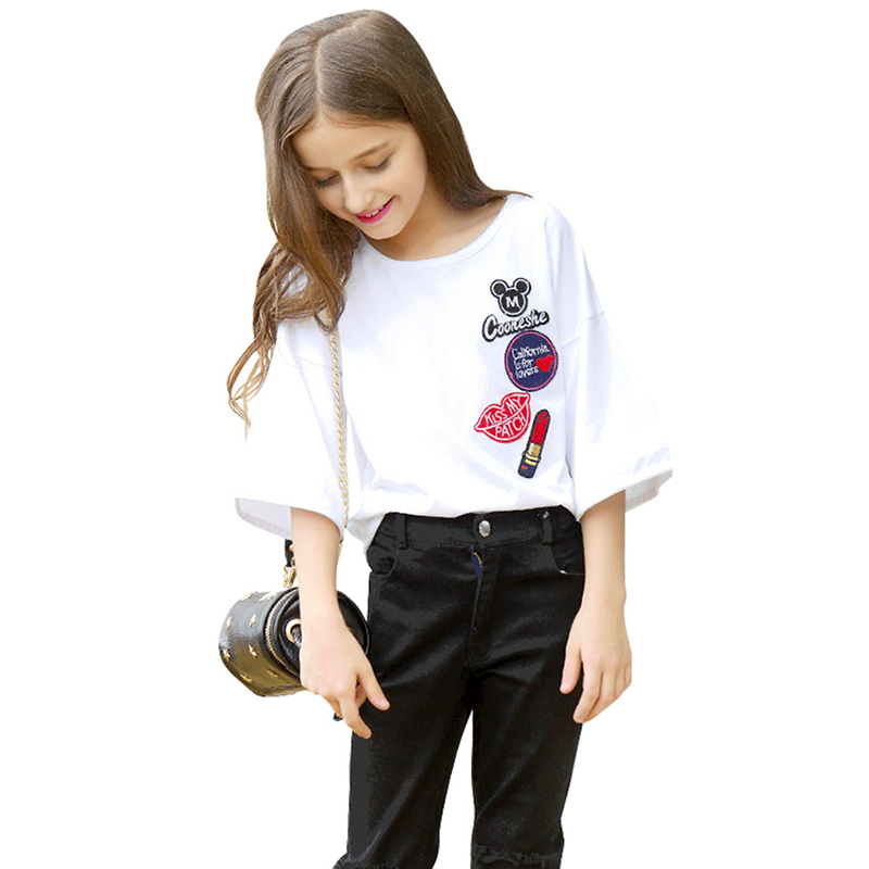 Teen Girl Clothing Sets 9 10 11 12 16 5 Years Short-sleeved Cotton t-shirt + jeans 2pcs Casual Girls Outfits O-neck Girls Summer girls summer sets 100 page 5