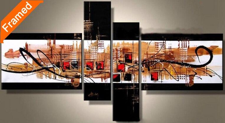Современная Картина абстрактного городской пейзаж маслом 4 компл. гостиной настенные росписи уникальный подарок для друзей высокого качес