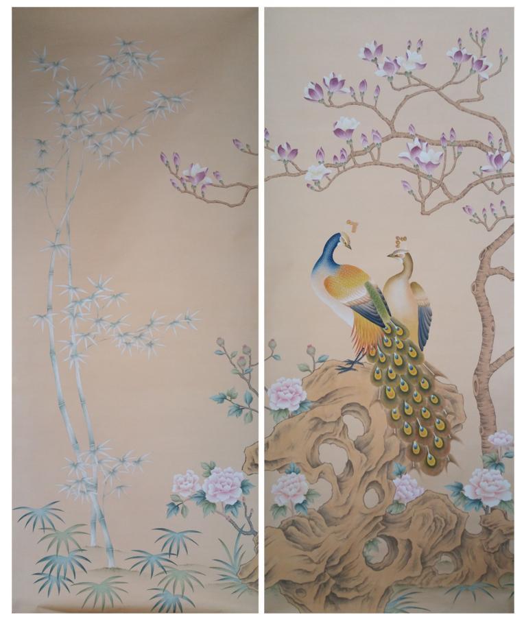 """Ручная роспись шелковые обои картина с магнолией с цветком """","""" птицы """","""" ручная роспись стены бумаги ТВ/диван/мебель для спальни/мебель для гостиной покрытия для стен"""
