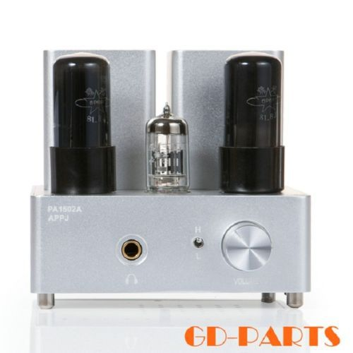 GD-PARTS Brand New APPJ Mini Headphone Earphone Tube Amplifier Desktop Valve Tube 6N4+6P6P Class A HIFI PA1502A Silver*1 appj pa1502a tube headphone amplifier hifi exquis 6n4 12ax7 6p6p 6v6 lamp headset amps