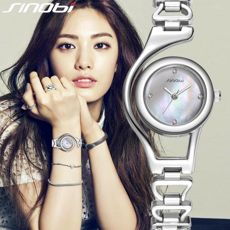 SINOBI Neue Casual Armband Quarzuhr Frauen Luxusmarke edelstahl Armbanduhr Damen Uhr weibliche Rose Gold/Silber