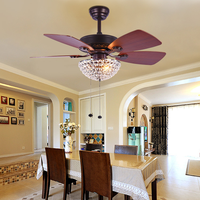 LED Fan Light DC Motor Living Room Restaurant Cafe Bedroom Crystal Decorative Fan Light