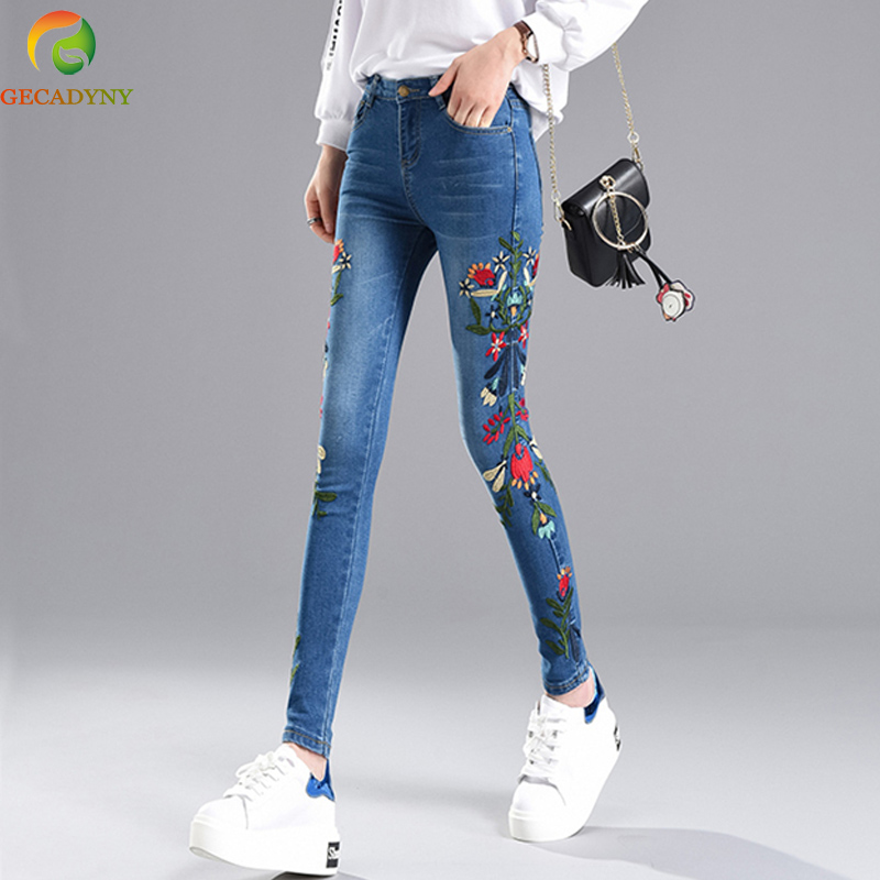 2017 New Fashion Women's Clothing Long Jeans Pants 3D Flowers Embroidery High Waist Ladies Slim Jeans Leggings Pencil Trousers 2017 new jeans women spring pants high waist thin slim elastic waist pencil pants fashion denim trousers 3 color plus size