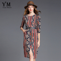 YuooMuoo New European Style Printed Women Dress Front Split Knee Length Work Dress Brand Design OL