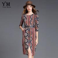 YuooMuoo New European Style Printed Women Dress Front Split Knee Length Work Dress Brand Design OL