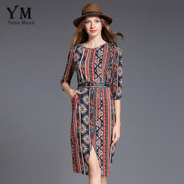 3ba9bda13b64d YuooMuoo New European Style Printed Women Dress Front Split Knee-length  Work Dress Brand Design OL Office Dress Women Clothing