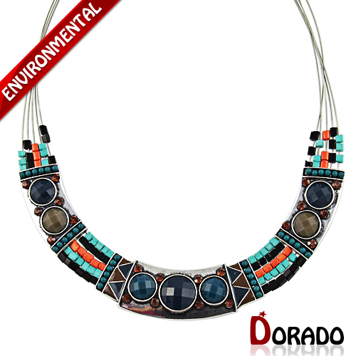 Hot Sale Ethnic Bead Jewelry Colorful Chunky Beads Choker Collar Necklaces For Women Handmade Statement Necklaces