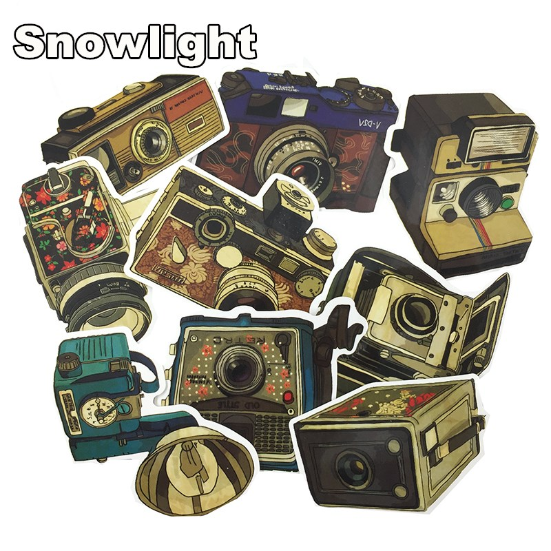 9pcs Cartoon Classic Retro Camera Sticker Decal For Phone Car Laptop Bicycle Notebook Backpack Case Waterproof Kids Toy Stickers