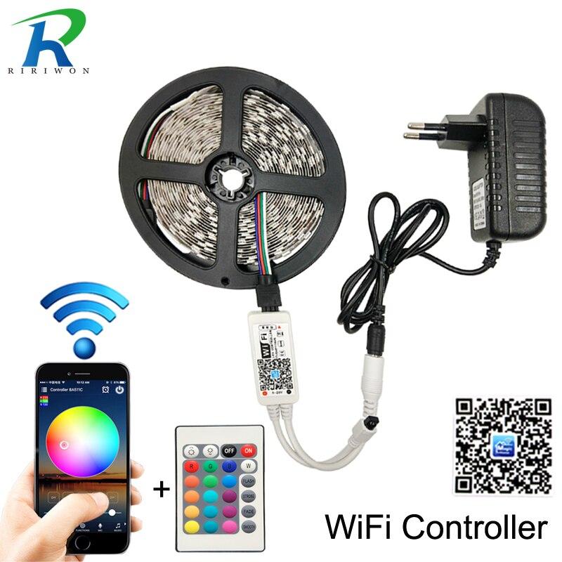 WiFi RGB LED Strip 12V Flexible LED Tape Ribbon SMD 2835 Waterproof Strip Rope String Lamp Light+LED WiFi Controller+EU Adapter