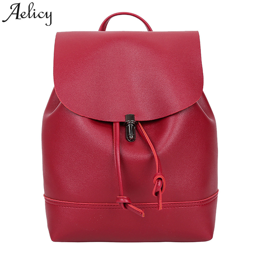 Aelicy 2018 Women Backpack High Quality PU Leather School Bags For Teenagers Girls Leisure Backpacks Trave Shoulder Bag