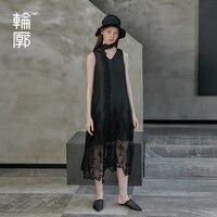 Контур оригинальный Летний Новый стиль темперамент шелкопряда шелковые черные платья свободные длинные вышитые Открытое платье L191Y017
