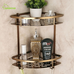 Antique Bronze Two Layer Corner Basket Shelf Silver Brushed Space aluminum Bathroom Accessories Products(China)