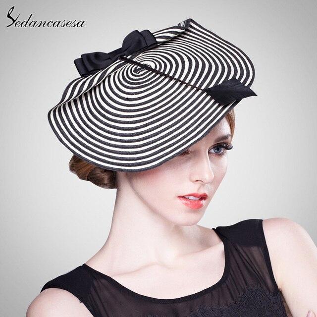 Sedancasesa Donne Eleganti Da Cerimonia Cappello Fascinator Per Matrimoni Sera  cappello Con Bianco e Nero A 18c3327ce3e5