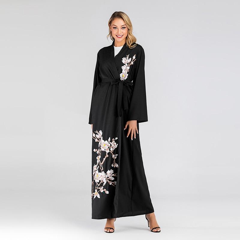 Open Abaya Turkey Kaftan Robe Dubai Kimono Middle East Muslim Cardigan Hijab Dress
