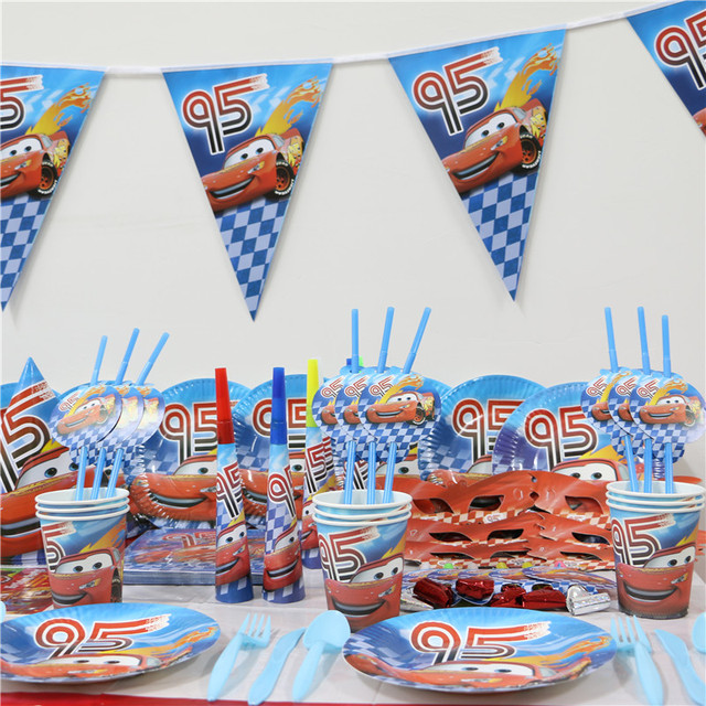 Hot 1pack 118pcs Kids Birthday Party Decoration Set The First Cars