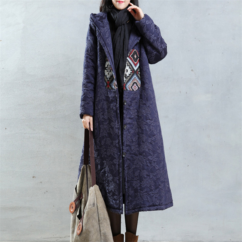 BOHOCHIC Original Vintage Overcoat Plus Size Loose Elegant Winter Womens Parka Coats 2016 Ladies Clothing Free Shipping AZ0703D