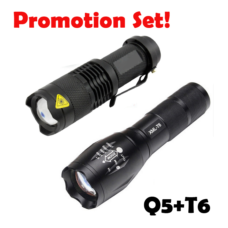 Promotion set !LED tactical flashlight Q5 2000LM + 3800LM LED flashlight T6 Zoomable lanternas LED Torch Ultra Bright Light led flashlight 3800 lumnes cree xm l t6 led tactical flashlight torch 5mode zoomable flashlight waterproof torch light lanternas