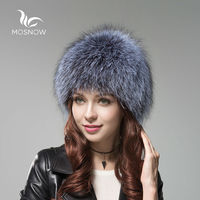 MOSNOW Luxury Fox Fur Cap Female Winter Knitted Women S Hats Brand New High Quality Solid
