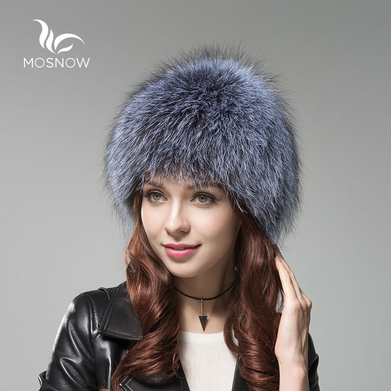 d620ee2c46e MOSNOW Luxury Fox Fur Cap Female Winter Knitted Women s Hats Brand New High  Quality Solid