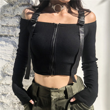 Goth T-shirt New 2019 Spring Autumn Women Tops Sexy Off Shoulder Zipper Strap Knit Long-sleeved Tees Black Bandages T-Shirts knit cold shoulder bottoming t shirts in black
