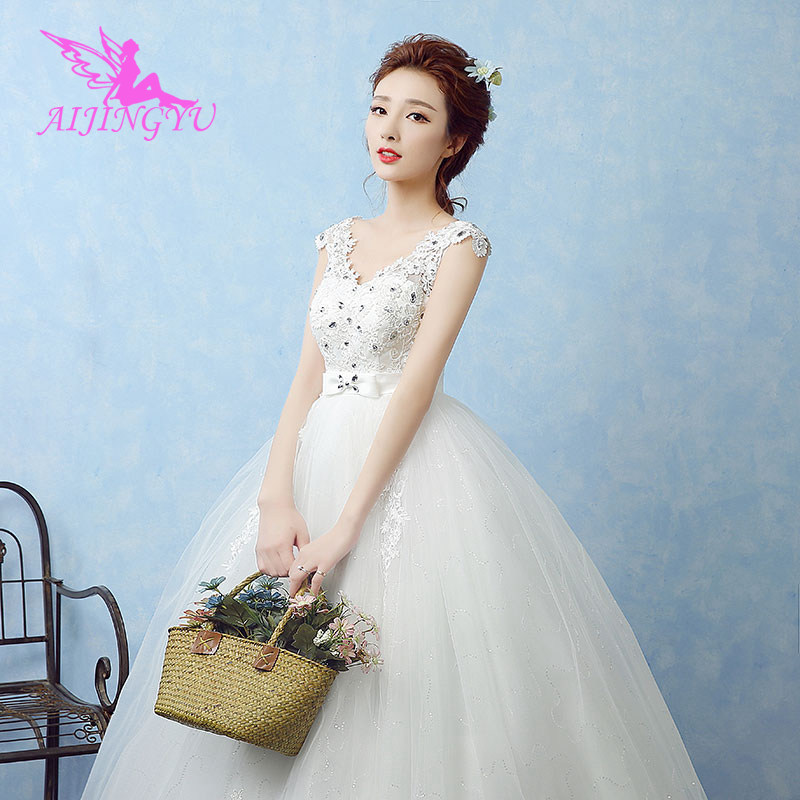 AIJINGYU 2018 luxury free shipping new hot selling cheap ball gown lace up back formal bride dresses wedding dress WK643-in Wedding Dresses from Weddings & Events    3