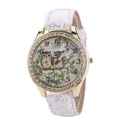 Идеальный подарок мужской и женский Универсальный мультфильм сова пару моделей алмаз кварцевые часы белый леверт челнока Dec1