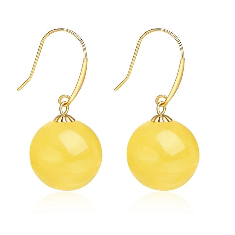 RINYIN Nature boucles d'oreilles ambre pur 18 K or jaune crochet boucle d'oreille goutte AU750 Dangle perles rondes 12mm