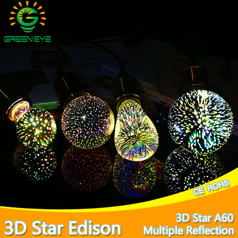 led light bulb 3D Star Silver Glass LED Edison Bulb E27 A60 ST64 G80 G95 Colourful LED Lamp 220V Holiday Light Novelty Christmas led light bulb edison 3d decoration silver holiday christmas decoration night bar glass led lamp 3w 5w candle lamparas bombillas