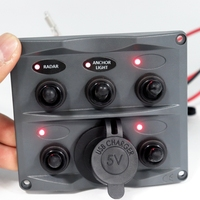 5P Toggle Switch Panel with USB Charger Red LED Lights Switches for Automotive Boat RV