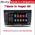 "car dvd for Peugeot 308 408 HD 1024*600 7"" Quad Core Android  5.1 Car DVD with 3G WIFI Radio GPS Navigation RK3188 +8g map"