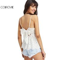 COLROVIE Bow Back Eyelet Cami Top Women White Embroidery Scallop Edge Peplum Summer Tops 2017 Hollow Out Cute Ruffle Camisole