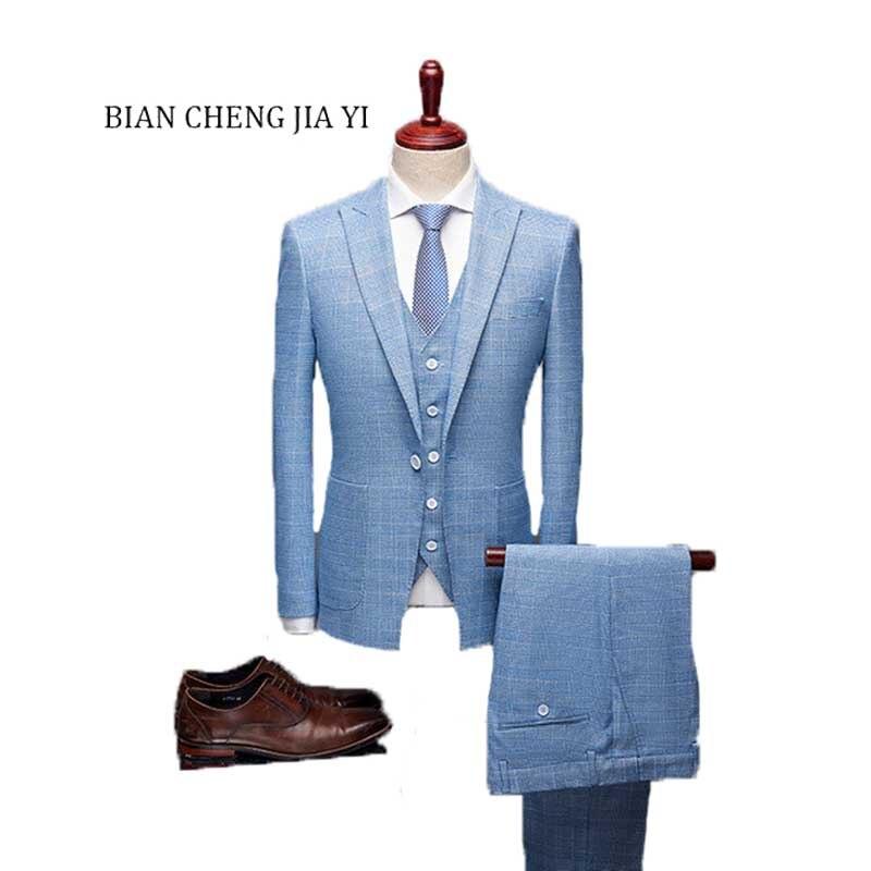 Fashion Blue Boutique High Quality Mens Wedding Suits Formal Suit 3 Pieces Wedding Groom Tuxedos Prom Slim Fit Light Plaid Suits