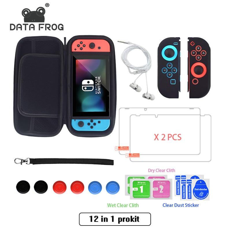 Kit de protector de pantalla de vidrio templado 12 en 1 para cubierta de Estuche de transporte Nintendo Switch para bolsa de almacenamiento NS con 6 uds de empuñaduras de silicona Bolsa de almacenamiento de pata de rana de datos para Nintendo Switch/Switch Lite Console estuche portátil de transporte para accesorios de juego NS Lite