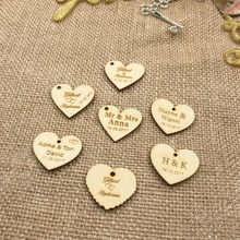 50 Personalized custom Engraved wedding name and date Love Heart wooden Wedding Gift Table Decoration Favors  Candy Tags