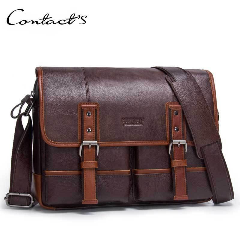 Для мужчин в стиле ретро из натуральной кожи Портфели Бизнес сумка кожаная сумка для ноутбука Курьерские сумки Для Мужчинs Для досуга путеш...