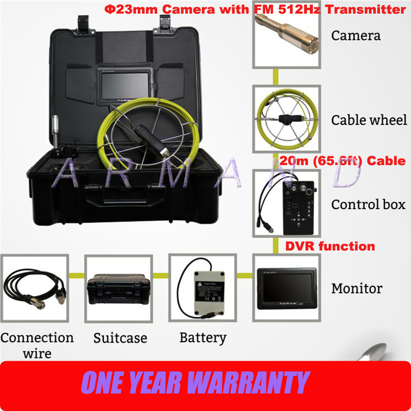Waterproof Video CCTV Pipe Sewer Inspection Camera with DVR 512Hz Sonde Transmitter (Loc ...