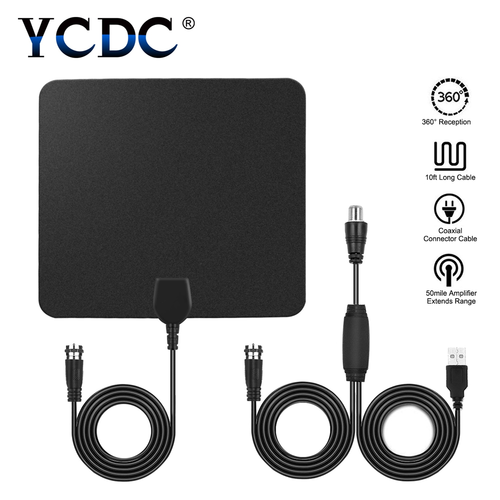 YCDC Black 50 Mile Range digital TV Antenna Signal Amplifier Booster Flat High Gain Amplified Hdtv Antena Indoor Tv Antennas simple fashion hdtv amplified indoor digital tv aerial with high gain hdtv 50 miles reception range home use