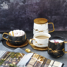 Entertime Nordic Style Marble matte gold series ceramic tea cup coffee mug with wooden lid or tray