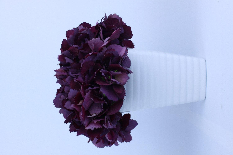 Hcstar Hot Purple Hydrangea Fake Flowers With White Vase Decorative