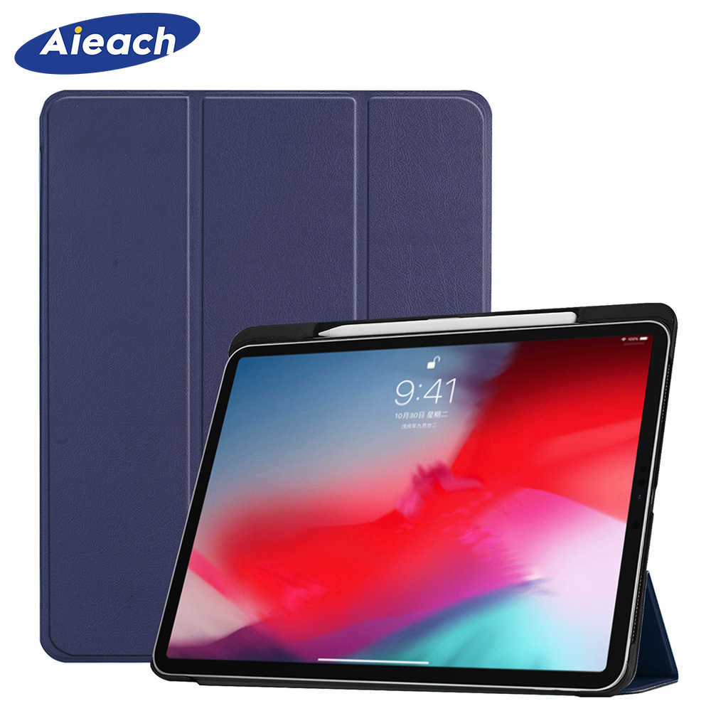 62e006f6cdd Funda For iPad Pro 11 2018 Case With Pencil Holder Smart PU Leather Trifold  Stand +