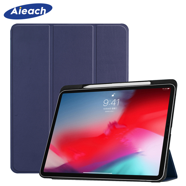 Funda For iPad Pro 11 2018 Case With Pencil Holder Smart PU Leather Trifold Stand + PC Hard Back Cover For New iPad Pro 11 Case