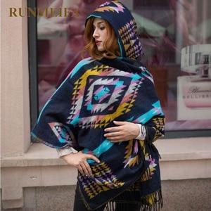 Image 4 - Thiết kế mới nữ mùa đông Bohemia Có Mũ Phối Mũi Đuôi Nơ Khăn Choàng Khăn Giả CashmereTribal Viền Áo Khoác Hoodie Quà Tặng CỔ