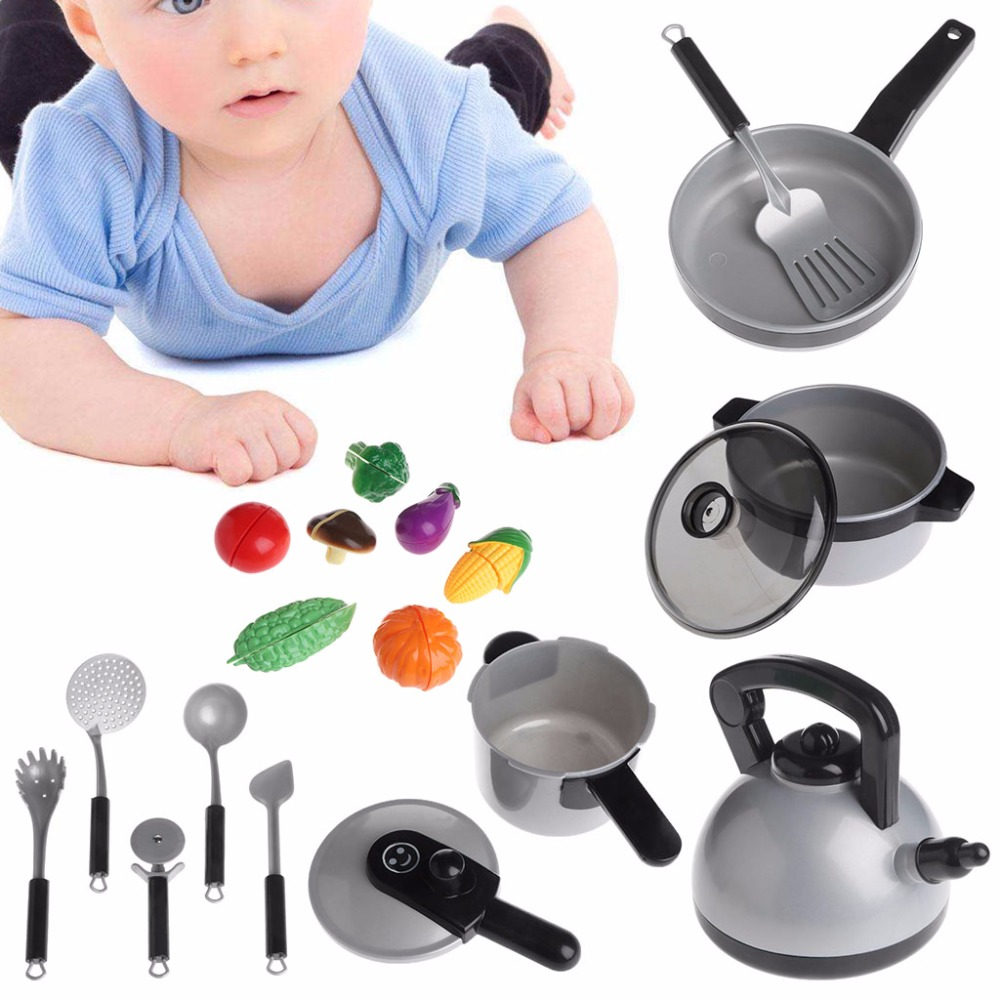 HBB 19 Pcs/Set Children Kitchen Cooking Tackle Toy Imagination Games Model Tableware ...
