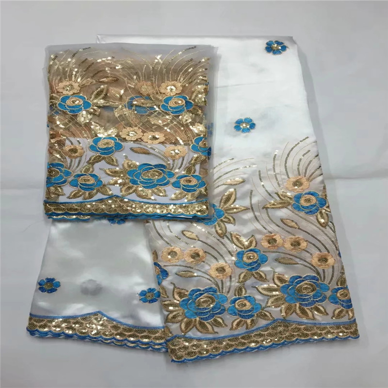 African George Lace Fabric 5 2 Yards Sets For Evening Dress Design Nigerian Embroidery Guipure George