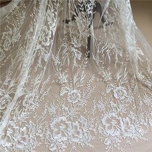 1 Yard Quality Clear Sequin Off White Tulle Floral Embroidery Lace Fabric , Bridal Gown Wedding Dress Veils Shrug